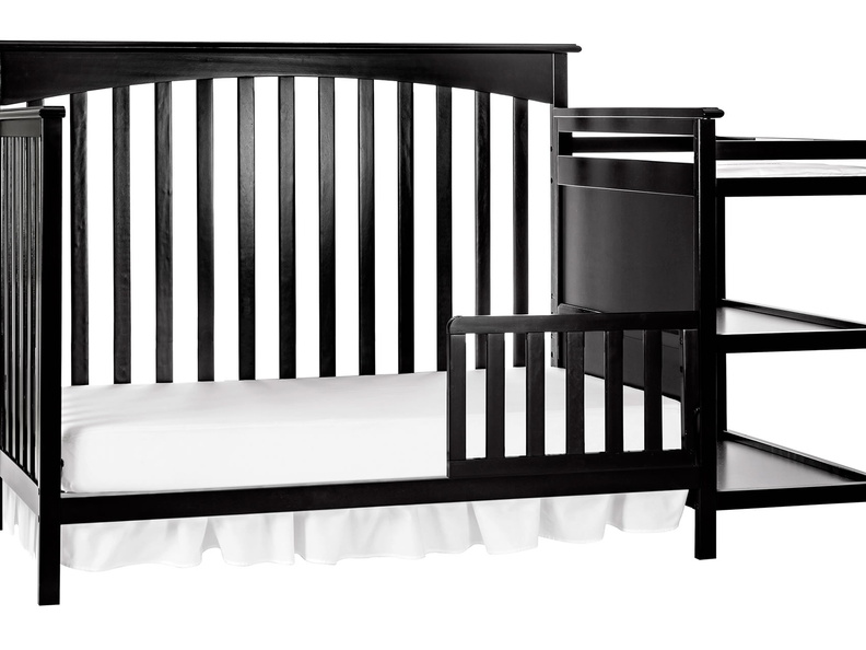 Black Chloe Toddler Bed with Changer Silo