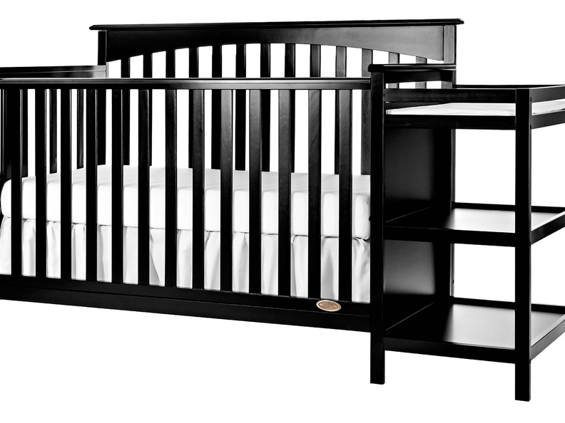 Black Chloe 5 in 1 Convertible Crib with Changer Silo Side