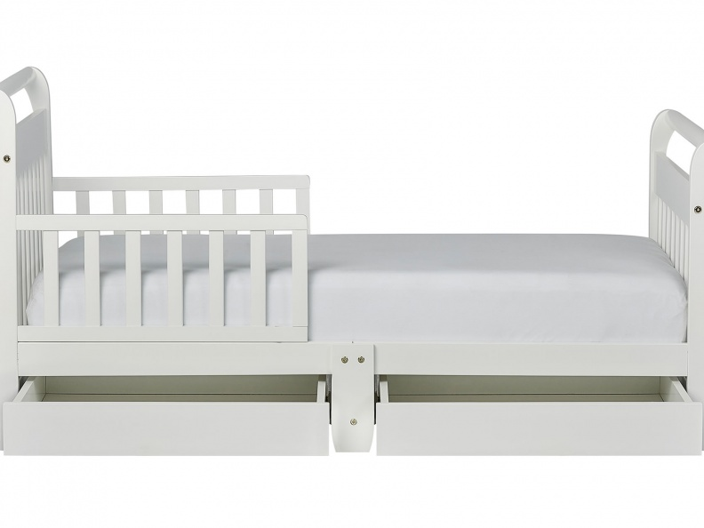 White Sleigh Toddler Bed With Storage Drawer Silo