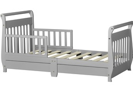 Pebble Grey Sleigh Toddler Bed With Storage Drawer Silo5