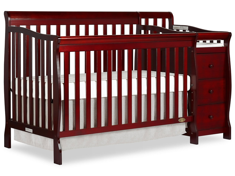 Cherry Brody 5 in 1 Convertible Crib with Changer Silo