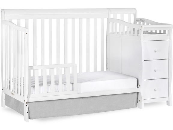 White Brody 5 in 1 Toddler Bed with Changer Silo